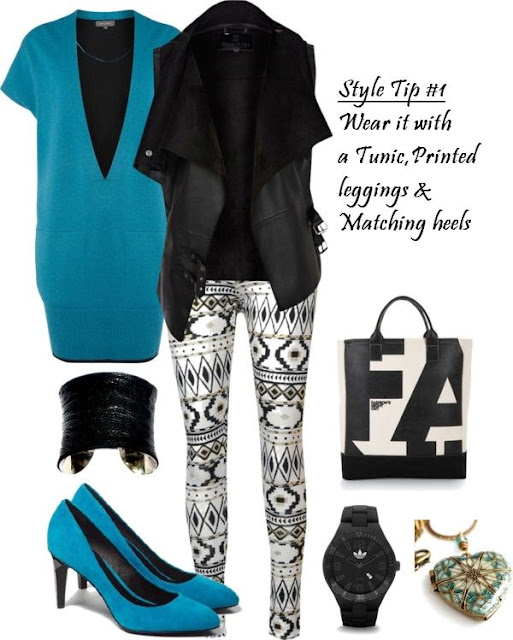 Styling a Vest, Vest Style, Fall Trends, Tunic, Printed Leggings