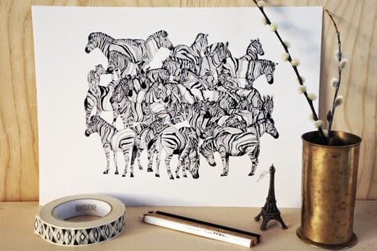 Zebrateckning av brittiska konstnären Sandra Dieckmanns finns hos lekiosk.se | www.var-dags-rum.se