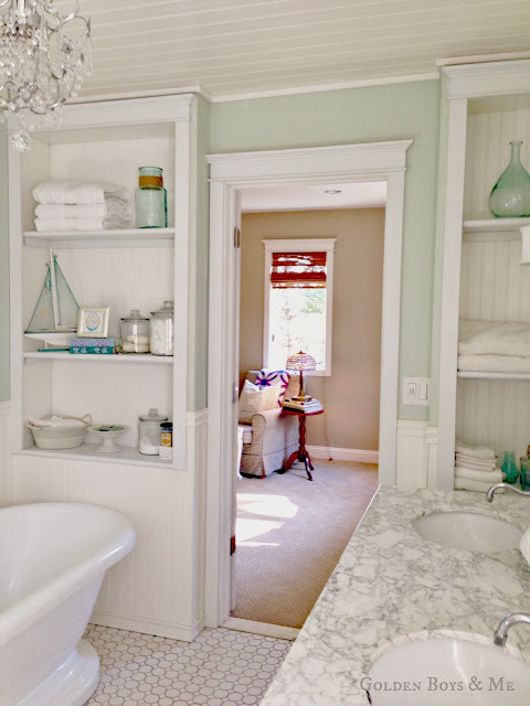 Built ins in master bathroom via www.goldenboysandme.com