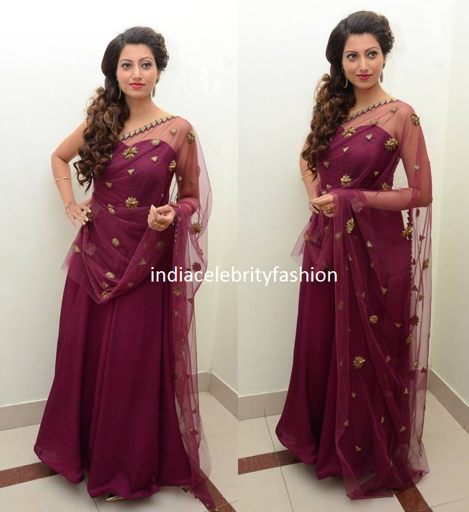 Hamsa Nandini in Aneekha Marsala Saree Gown at bengaltiger audio launch
