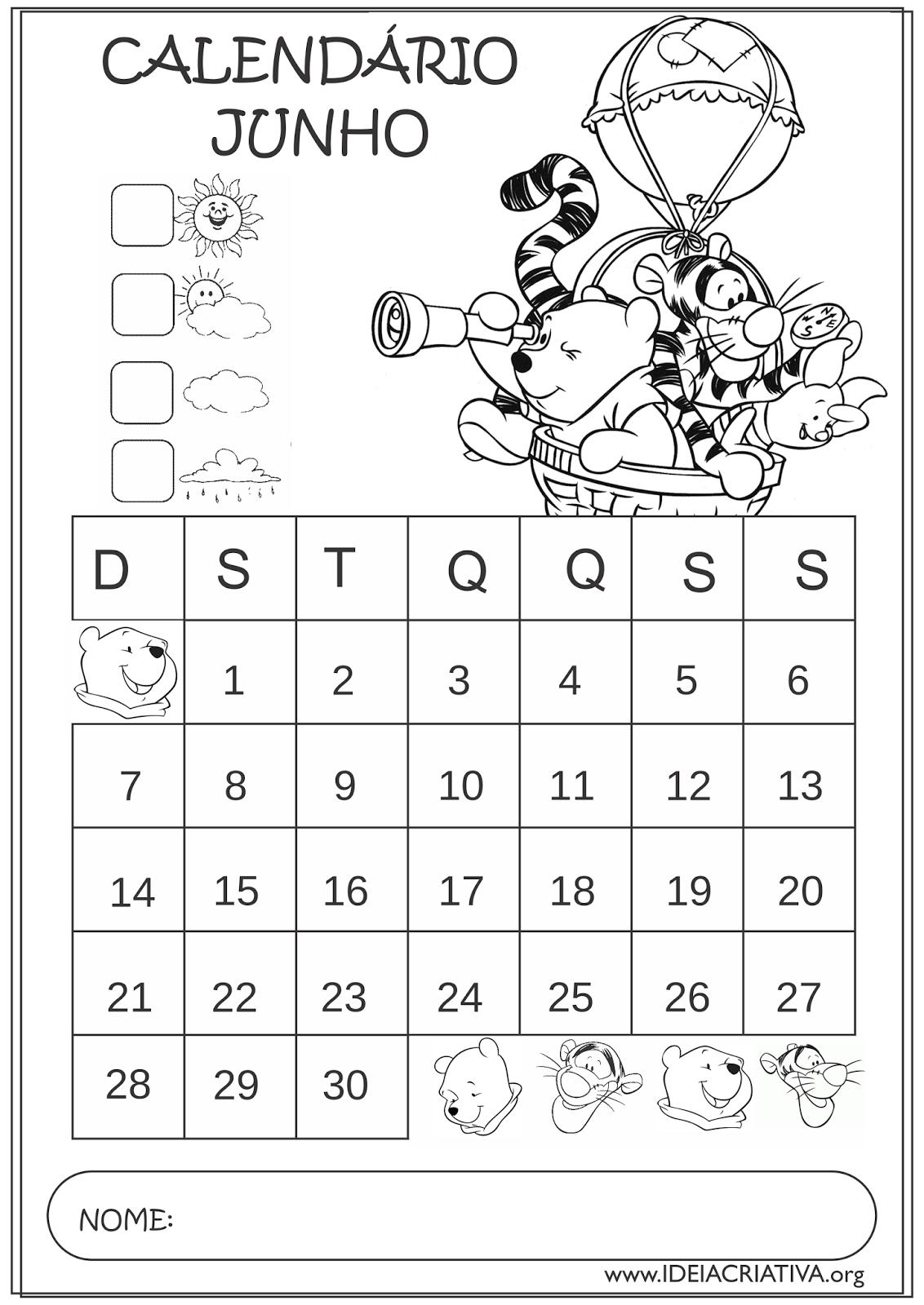 Calendários Junho 2015 Turma do Pooh Educação Infantil para Colorir