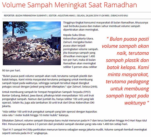 Kenaikan Volume Sampah