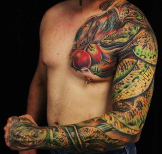armed snake tattoo design on guys hand