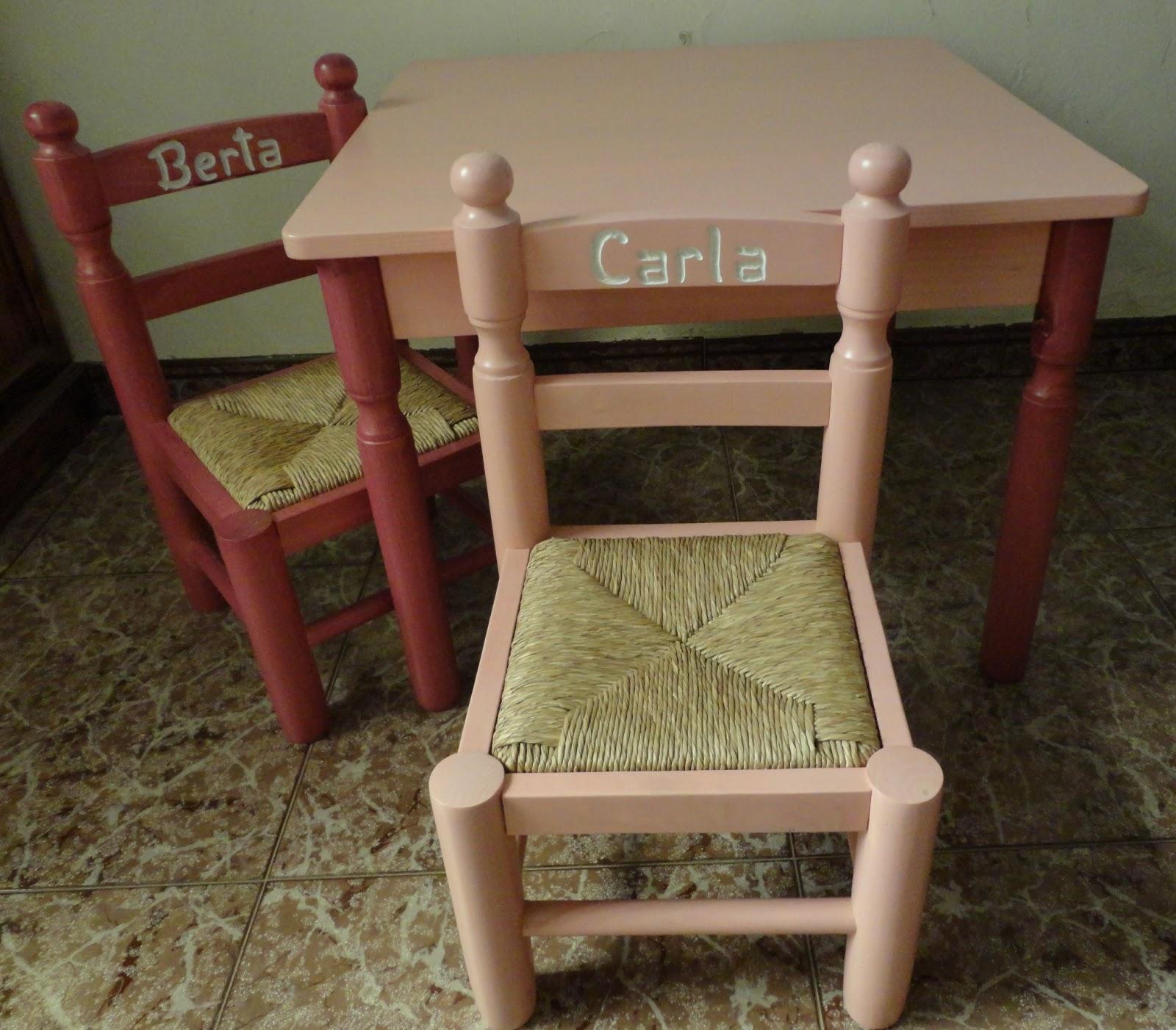 Mesas y sillas infantiles de madera y enea tel contacto for Silla madera ninos