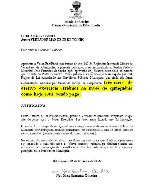 Indicações do vereador Max De Zé de Toinho beneficiará FUNCIONÁRIOS DO MUNICÍPIO DE RIBEIRÓPOLIS.
