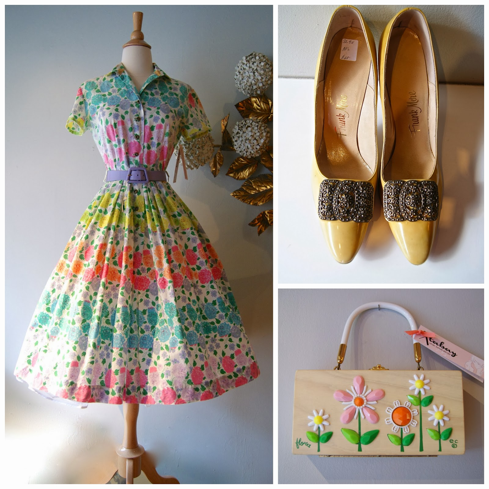 Perfect For A Garden Party Or As Wedding Guest 1950s Cotton Rose Print Dress Butter Heels And Again The Enid Collins Fleurs Box Purse