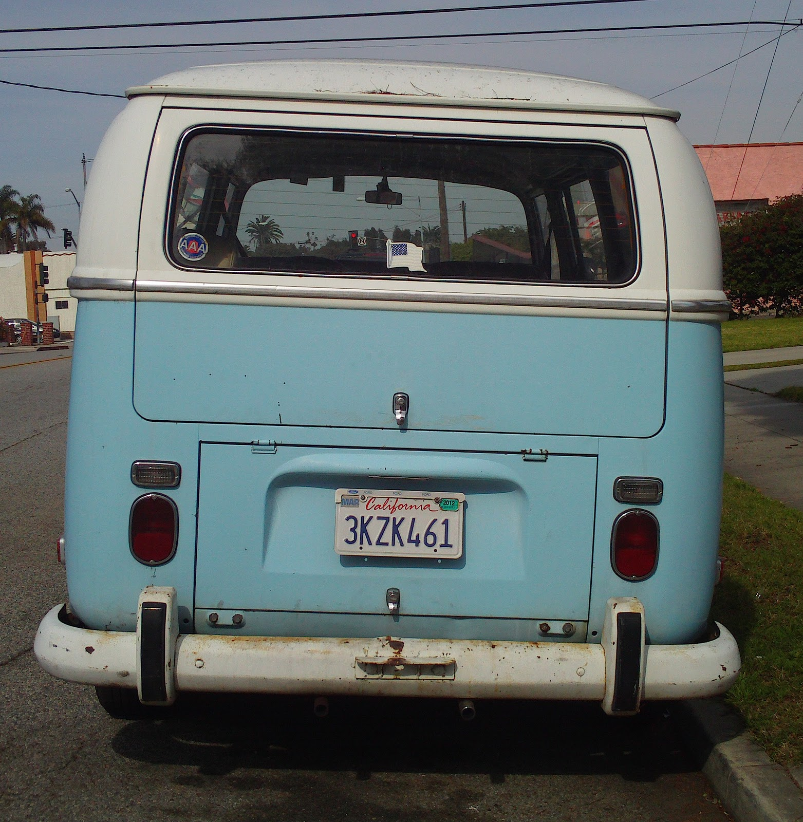 Baby Blue & White VW Bus.