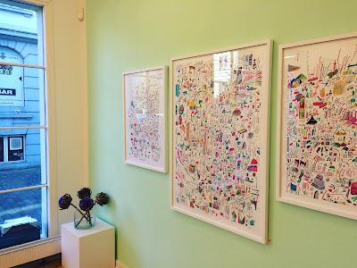 udstilling hos Lyrum Rammer i Aarhus med  illustrator, artist og håndværker Daniel van der Noon