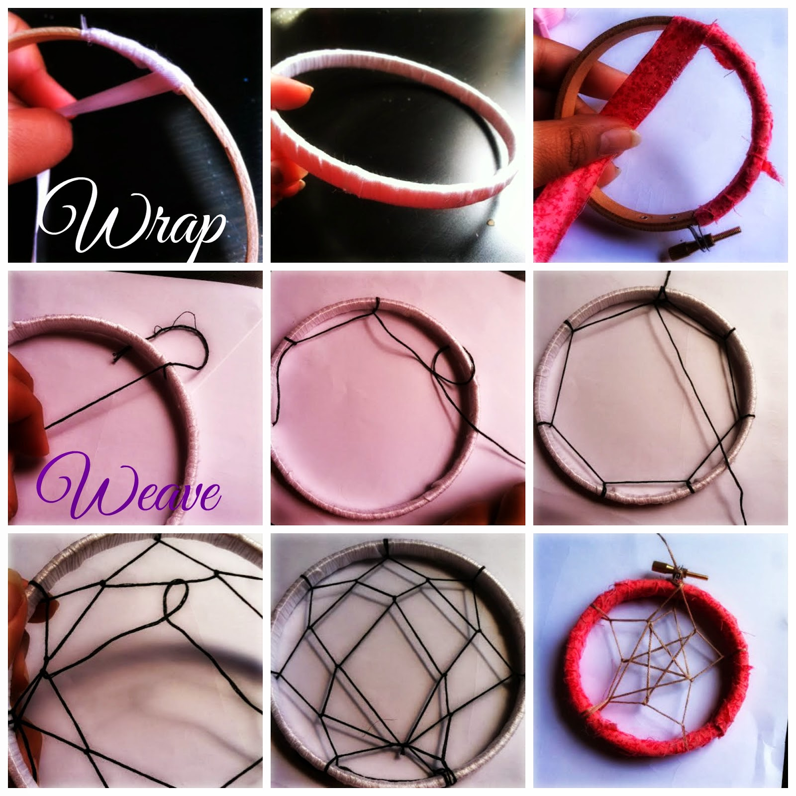 Instructions on how to make a dream catcher picture - Untighten The Hoop And Use Only One Of The Hoops Which Ever You Prefer I Used The Inside Hoop For The Bigger One And I Used The Outside Hoop For The