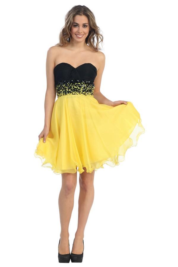 Robe de soiree courte jaune