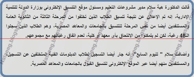 نتيجة تنسيق المتخلفين عن المرحلة الثالثة للثانوية العامة 27/9/2014