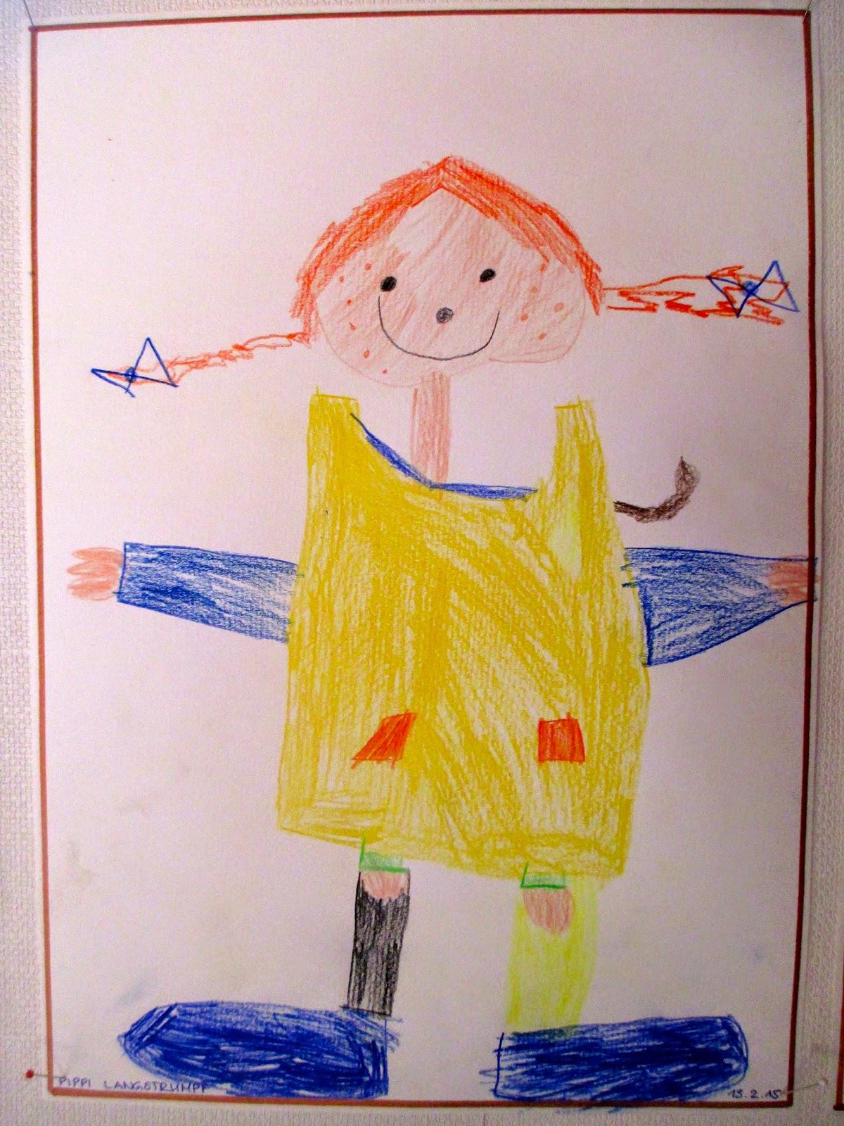 Pippi ist im Kindergarten sichtbar geworden Pippi auf Papier