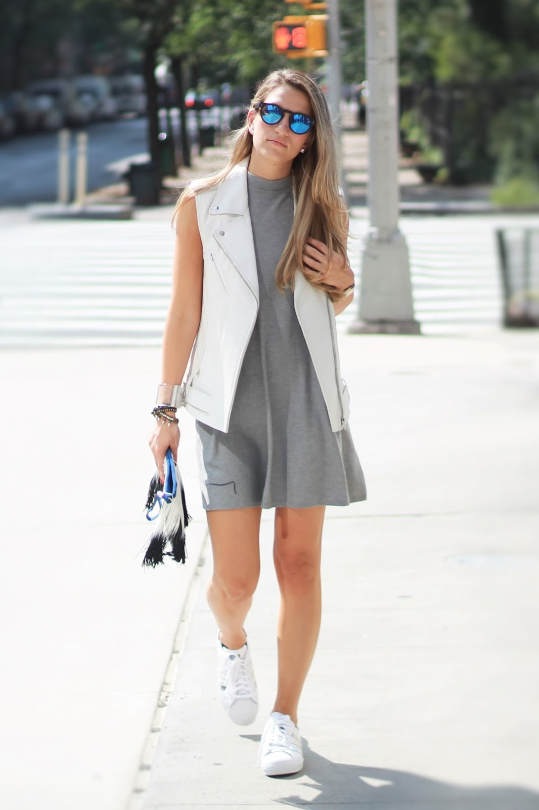 white leather vest, dress and sneakers outfit, dressed for dreams