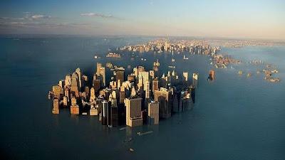 Una de las principales y más preocupantes consecuencias que puede tener el calentamiento global para la civilización actual es el aumento del nivel del mar debido al deshielo de los casquetes polares. Si el hielo polar llegase a desaparecer del todo, el nivel de las aguas podría aumentar hasta en casi 70 metros, lo que implicaría la desaparición de grandes extensiones de tierra y muchas poblaciones pasarían a ser ciudades submarinas. Aunque es prácticamente imposible que algo así suceda de la noche a la mañana, aplicaciones como FloodMap permiten «inundar» el mundo para simular sobre los mapas los efectos del