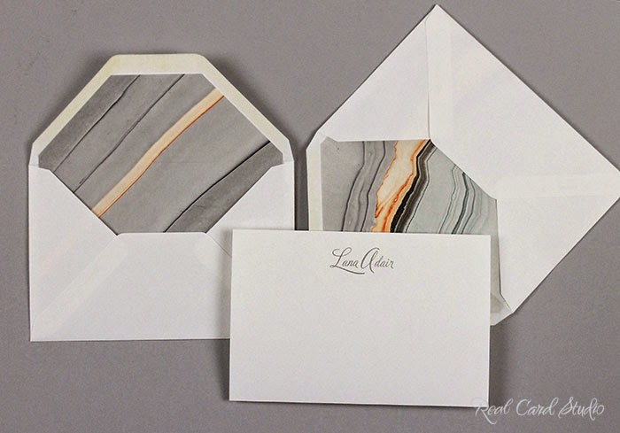 two envelopes with liners + notecard