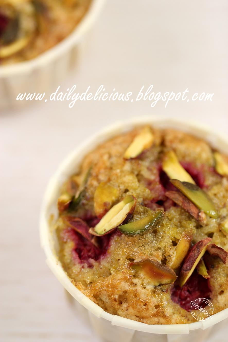 dailydelicious: Raspberry Pistachio Tea Cake: Short cut baking!