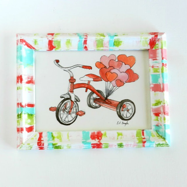 Painted Frame with Red Tricycle Painting