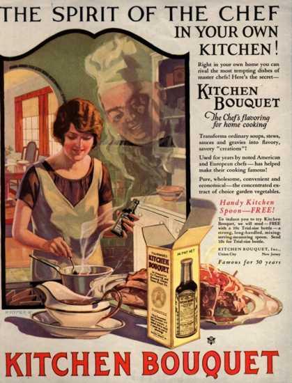 Propaganda do ano de 1910 em que brincava com a presença de um espírito de 'chef' na cozinha.