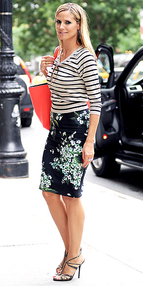 Heidi Klum paring stripes with a floral Dolce & Gabbana skirt