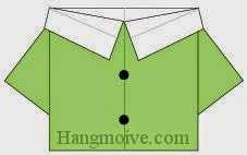 Bước 8: Vẽ cúc để hoàn thành cách xếp áo sơ mi nữ bằng giấy origami đơn giản.