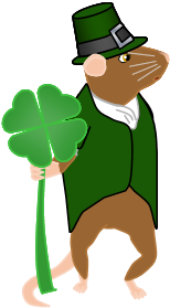 Image: Frank the mouse stands in a green tailcoat and a green capotain hat, holding a shamrock about the size of his head.