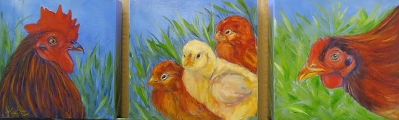 A Family Affair rooster,hen, baby chicks $85.00 plus ship & ins; $14.00 ins