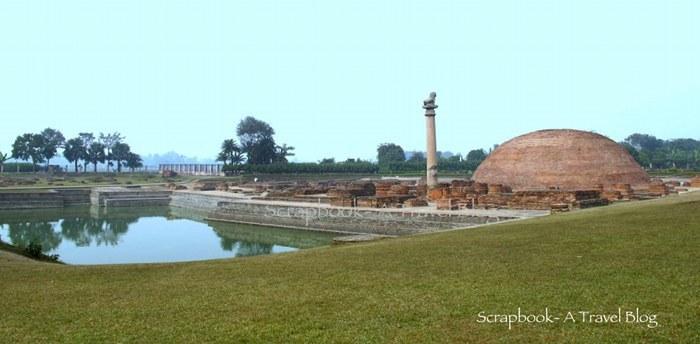 Ashoka Pillar, Ananda Stupa, Ramkund in Kutagarasala Vihara in Kolhua Bihar