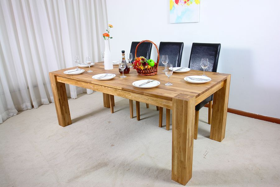 Oak dining room furniture furniture for Solid oak dining table