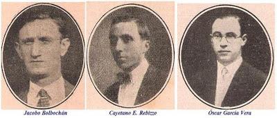 Los ajedrecistas argentinos Jacobo Bolbochán, Rebizzo y O.García Vera