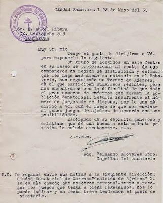 Carta de la Ciudad Sanatorial de Terrassa a Ángel Ribera, mayo 1955