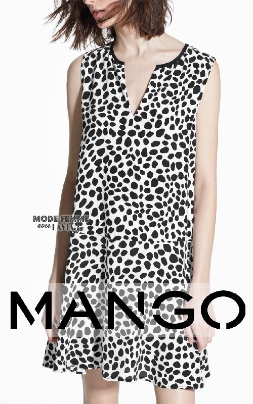 Robe blanche et noire Mango
