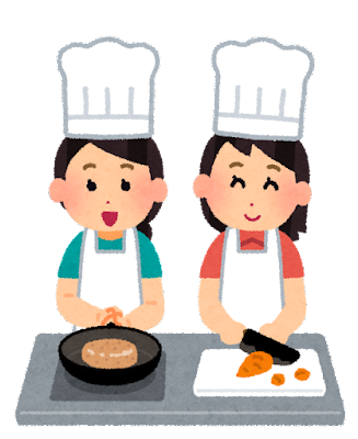 女性たちが料理をしているイラスト
