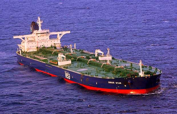 Oil exports heading to sea in an oil tanker