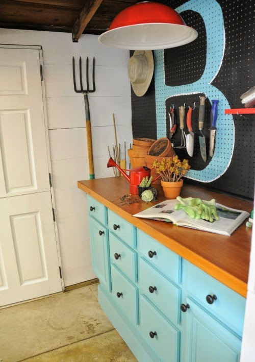 Now an organized and darling shed with pegboard organization :: OrganizingMadeFun.com