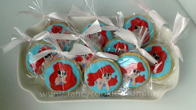 princess ariel cookies in plate