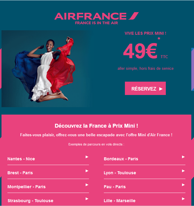 Air France prix mini