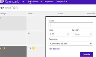 crear evento en Outlook calendario