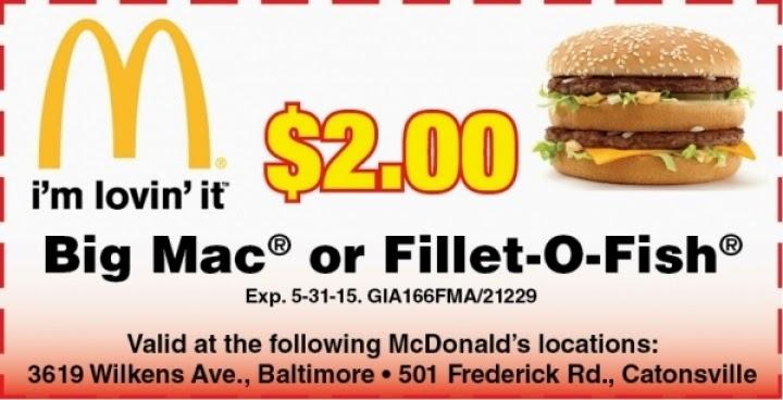 Mcdonald discount coupon