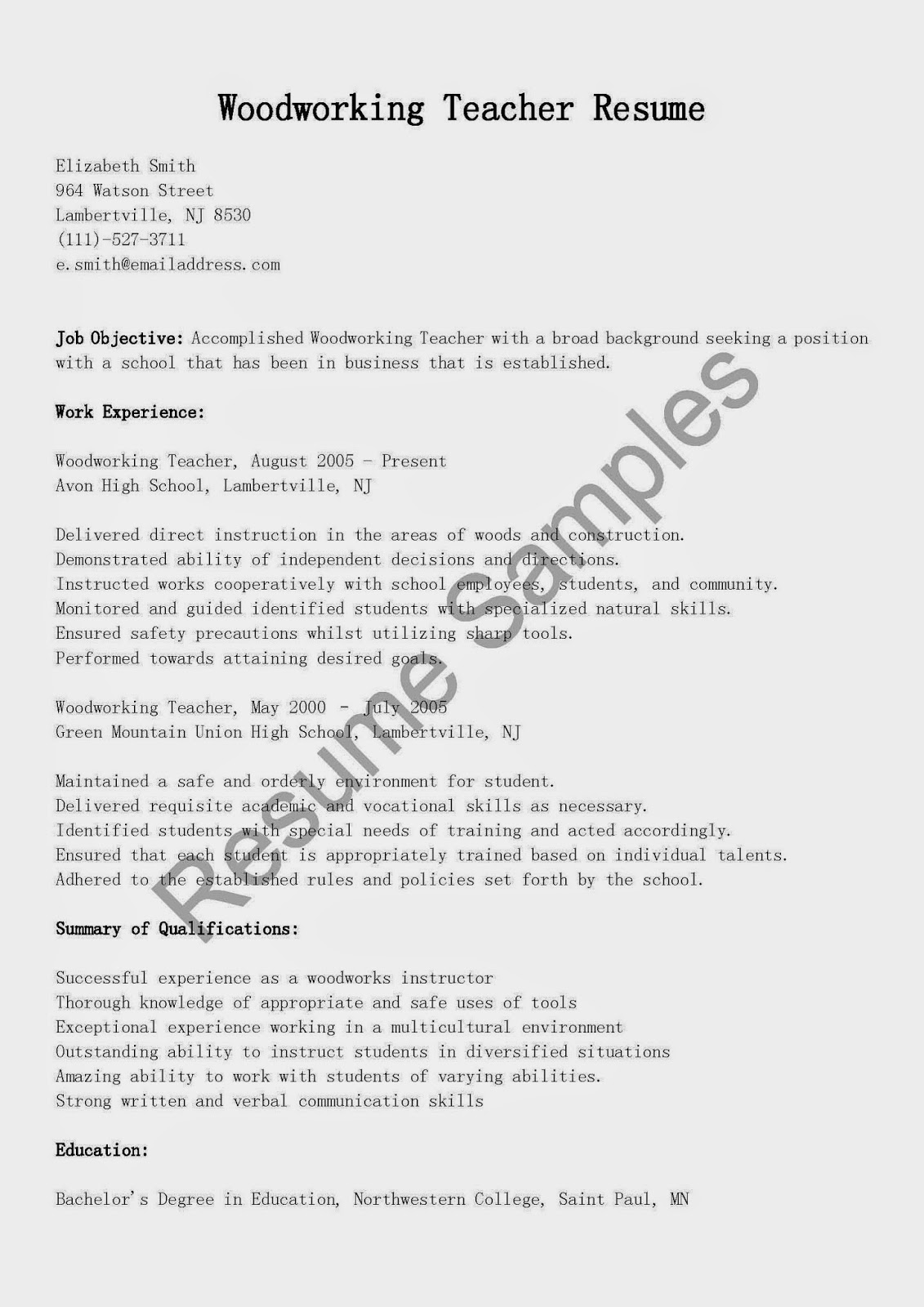 Resume Samples Woodworking Teacher Resume Sample