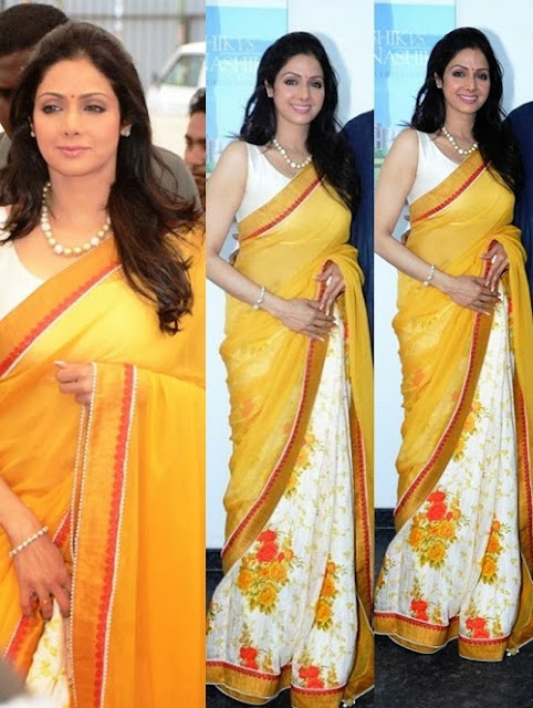 Sridevi in Manish Malohtra's Saree Designs