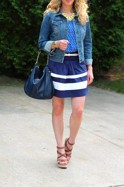 sailboat print top, blue striped skirt, denim jacket, wedges, navy Kate Spade bag