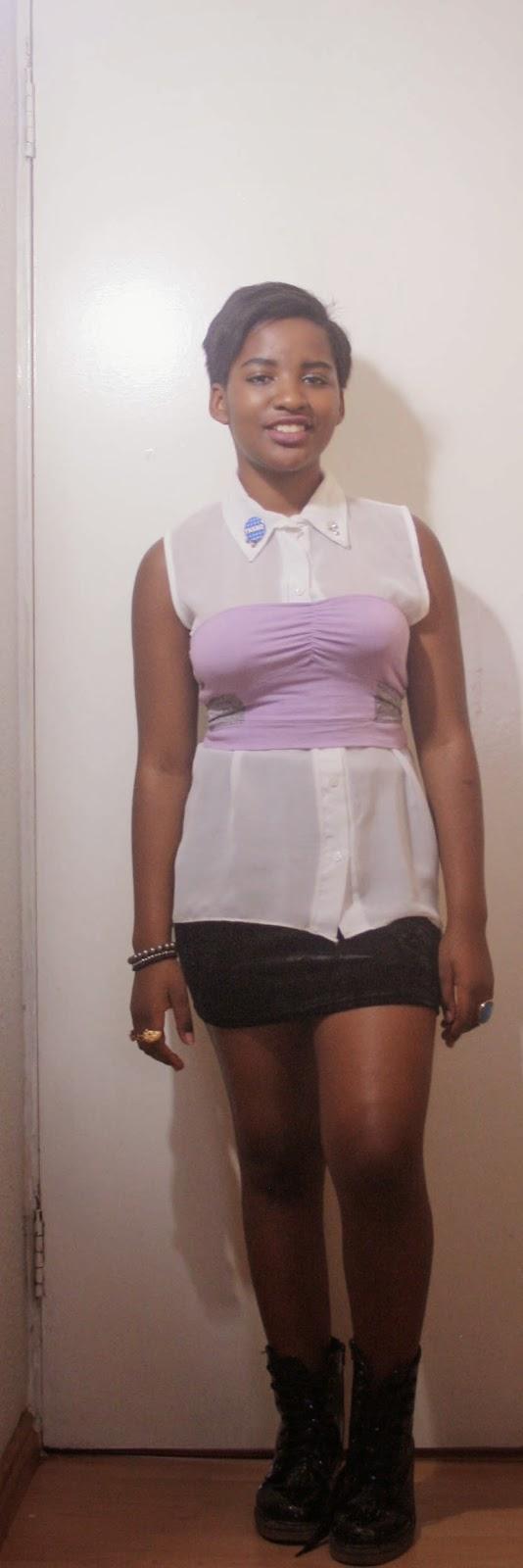 white blouse under lilac bandeau and black velvet skirt