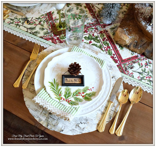 Farmhouse Christmas Dining Room-Holly Dinnerware-Christmas Place Setting- From My Front Porch To Yours