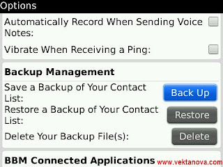BlackBerry Messenger Contact Backup