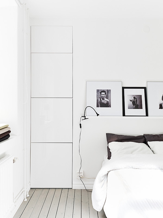 White bedroom via Stadshem