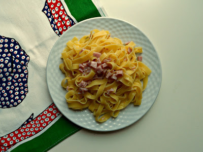 fettuccine con prosciutto cotto e limone - cooked ham and lemon pasta