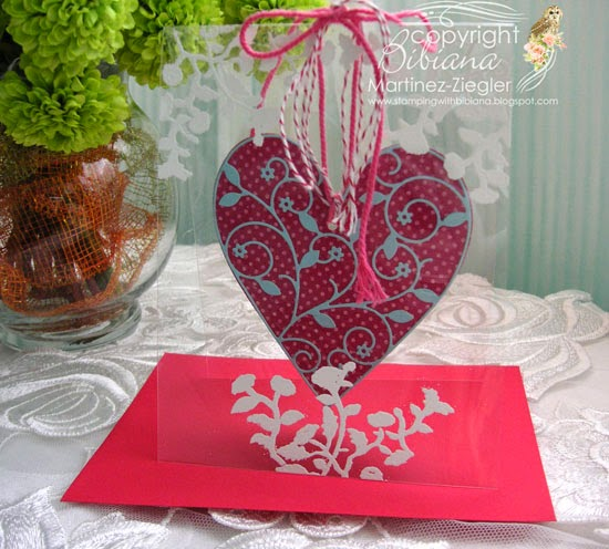 acetate card last view with hanging heart for valentines