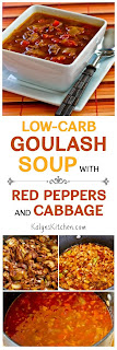Low-Carb Goulash Soup with Red Peppers and Cabbage found on KalynsKitchen.com