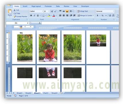 Gambar: contoh mencetak foto/gambar ke beberapa halaman/kertas di microsoft excel