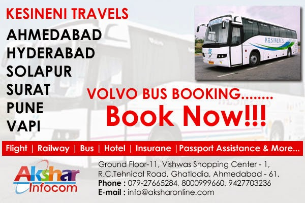 Volvo Bus Services to Surat, Vapi, Pune, Solapur, Hyderabad - Kesineni Travels